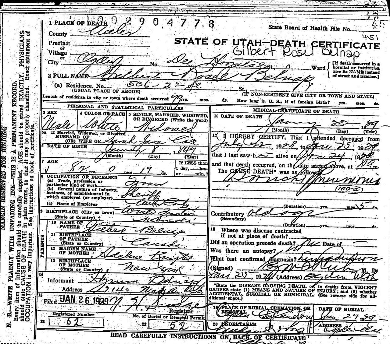 Death records death certificate gilbert rosel belnap 1929 1betcityfo Choice Image