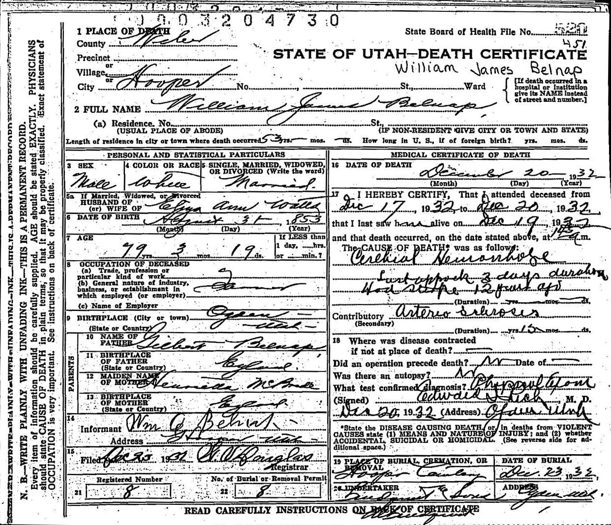 Death records death certificate william james belnap 1932 1betcityfo Choice Image