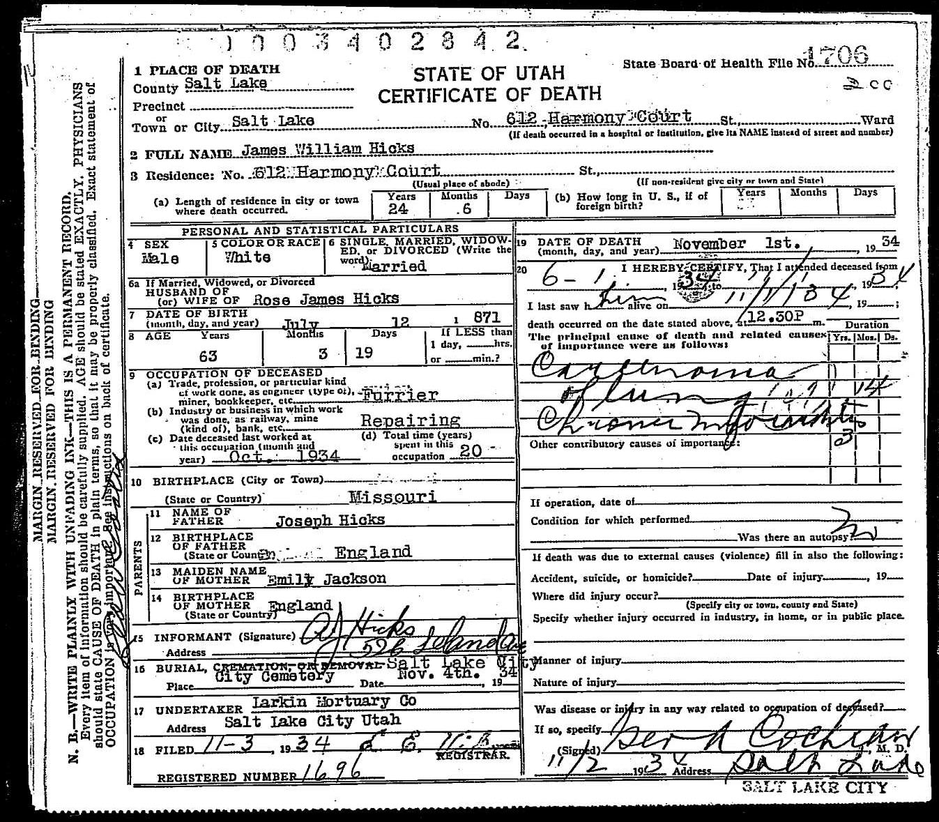 Death records death certificate james william hicks 1934 1betcityfo Gallery