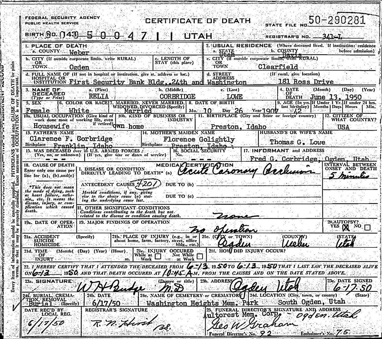 Death records death certificate relia corbridge lowe 1950 xflitez Choice Image